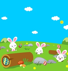 Easter bunny playful with eggs colorful vector