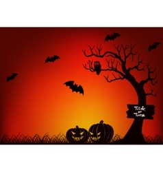 Scary halloween with bat tree and pumpkin vector