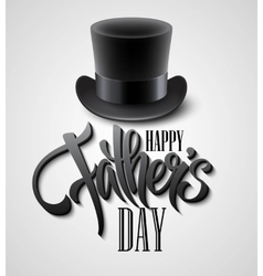Black top hat isolated on white with text happy vector