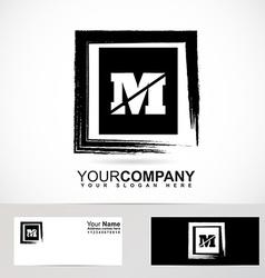 Letter m grunge square logo vector