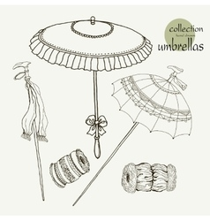 Collection womens old umbrellas vector