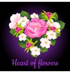 Heart of flowers peony and apple flowers vector