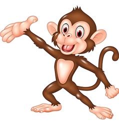 Cartoon funny monkey presenting isolated vector