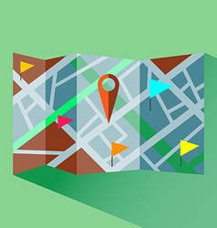 Colorful map with map pointers digital icon vector