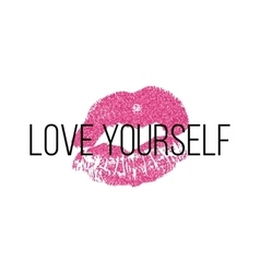 Poster with pink lips prints on white background vector image