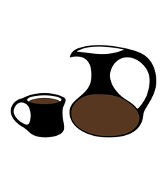 Coffee jug mug isolated vector