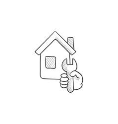 House repair sketch icon vector