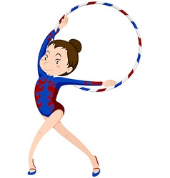 Female athlete doing gymnastics with hoop vector
