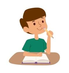 School boy learning vector