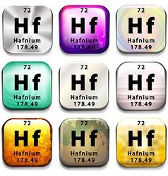 A button showing the element hafnium vector