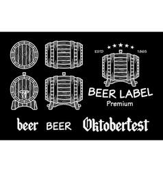 beer set elements chalkboard octoberfest vector image vector image