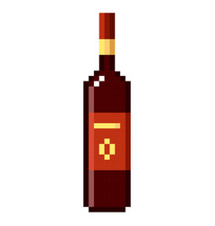 bottle of wine pixel art cartoon retro game style vector image