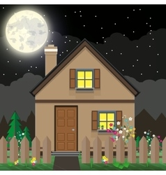 Brown wooden house and garde vector