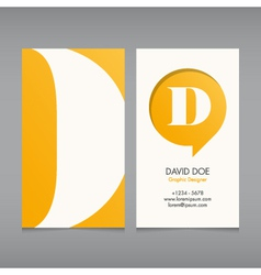 Business card template letter D vector image