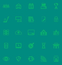 Business management green line icons vector image vector image