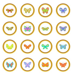 Butterfly fairy icons circle vector