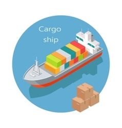 Cargo Ship Icon in Isometric Projection vector image