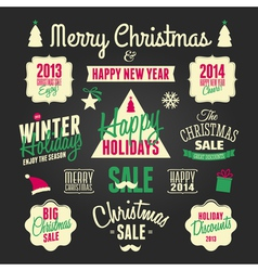 Chalkboard style christmas design elements set vector