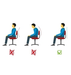 Correct and bad sitting position medical vector