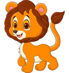 Cute baby lion walking isolated vector image vector image
