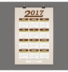 Design for calendar 2017 english or american vector