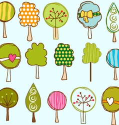 Funny trees seamless pattern vector image vector image