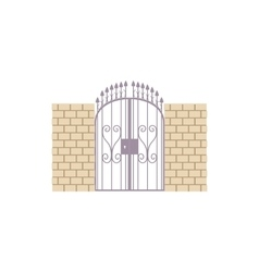 Gate with brick wall and a metal lattice icon vector