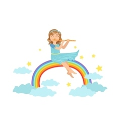 Girl playing flute with rainbow and clouds vector