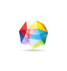 Globe abstract logo template tetrahedron vector