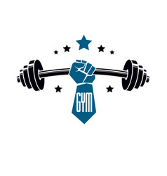gym weightlifting and fitness sport club logo vector image vector image