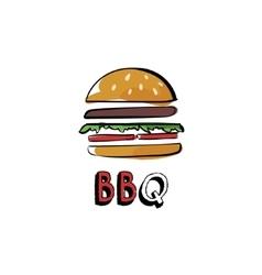 Hand drawn burger bbq vector image vector image