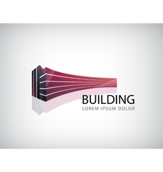 horizontal red 3d building office logo vector image vector image
