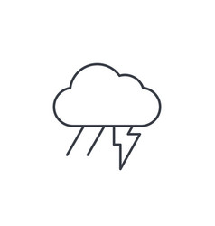 Lightning thunder storm rain and cloud thin line vector