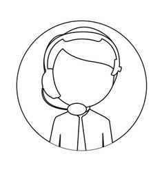 Monochrome circular frame with man call center vector