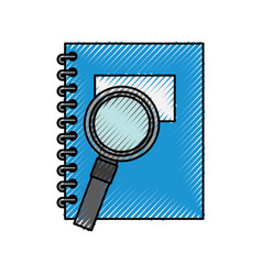 Notebook school with magnifying glass vector