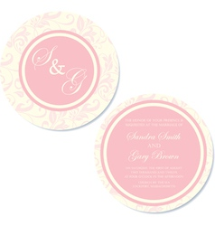 round wedding invitation pink copy vector image vector image