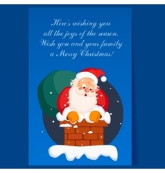 Santa claus in chimney on christmas eve winter vector
