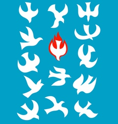 Set icon of holy spirit vector