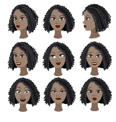Set of emotions of the same black girl vector