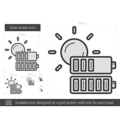 Solar power line icon vector