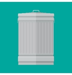 Steel street trash can on green background vector