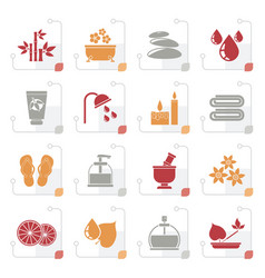 stylized spa and relax objects icons vector image vector image