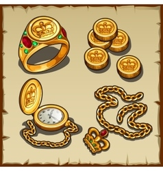 Symbols of wealth and power gold and treasures vector image