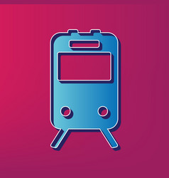 Train sign blue 3d printed icon on vector