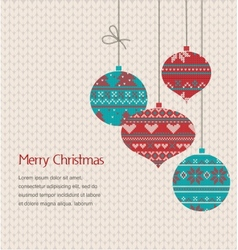 Vintage Christmas greeting card with knitted vector image