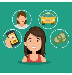 woman cartoon taxi service concept items vector image