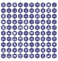 100 adventure icons hexagon purple vector