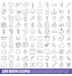 100 book icons set outline style vector image