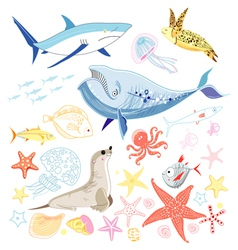 Graphic marine animals vector
