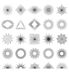 set of 25 line light rays sunburst vector image